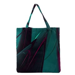 Abstract Green Purple Grocery Tote Bag