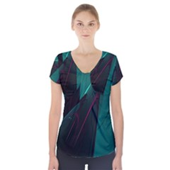 Abstract Green Purple Short Sleeve Front Detail Top