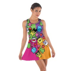 Cartoon Pattern Cotton Racerback Dress