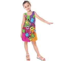 Cartoon Pattern Kids  Sleeveless Dress
