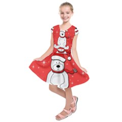Polar bear - red Kids  Short Sleeve Dress