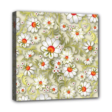 Beautiful White Flower Pattern Mini Canvas 8  X 8