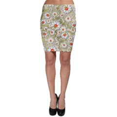 Beautiful White Flower Pattern Bodycon Skirt