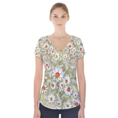 Beautiful White Flower Pattern Short Sleeve Front Detail Top