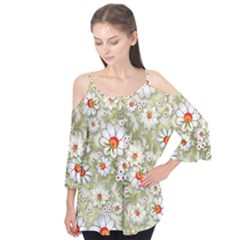 Beautiful White Flower Pattern Flutter Tees