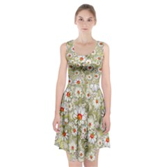 Beautiful White Flower Pattern Racerback Midi Dress
