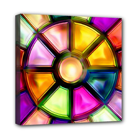 Glass Colorful Stained Glass Mini Canvas 8  X 8