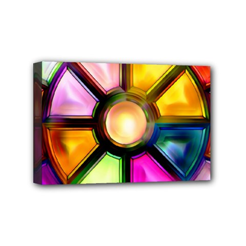 Glass Colorful Stained Glass Mini Canvas 6  X 4
