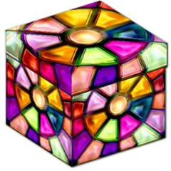 Glass Colorful Stained Glass Storage Stool 12