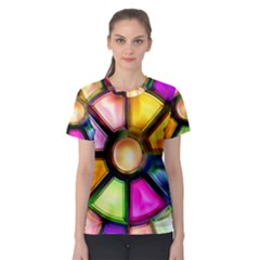 Glass Colorful Stained Glass Women s Sport Mesh Tee