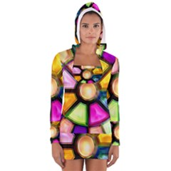 Glass Colorful Stained Glass Women s Long Sleeve Hooded T Shirt