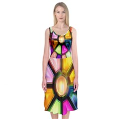 Glass Colorful Stained Glass Midi Sleeveless Dress