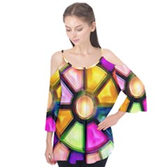 Glass Colorful Stained Glass Flutter Tees