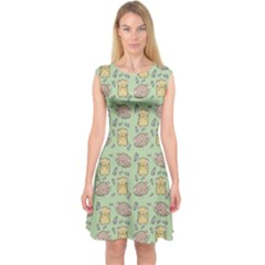 Hamster Pattern Capsleeve Midi Dress