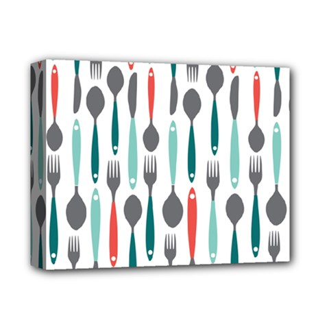 Spoon Fork Knife Pattern Deluxe Canvas 14  X 11