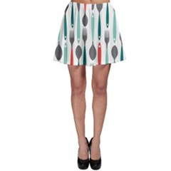 Spoon Fork Knife Pattern Skater Skirt