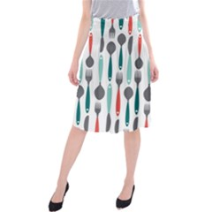Spoon Fork Knife Pattern Midi Beach Skirt