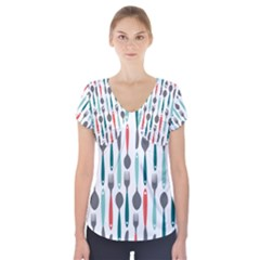 Spoon Fork Knife Pattern Short Sleeve Front Detail Top