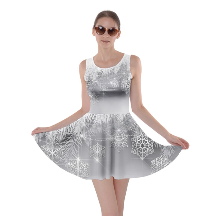 New Year Holiday Snowflakes Tree Branches Skater Dress