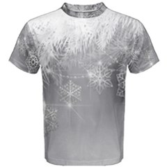 New Year Holiday Snowflakes Tree Branches Men s Cotton Tee