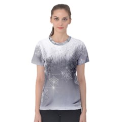 New Year Holiday Snowflakes Tree Branches Women s Sport Mesh Tee