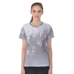 New Year Holiday Snowflakes Tree Branches Women s Cotton Tee