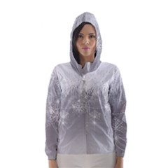 New Year Holiday Snowflakes Tree Branches Hooded Wind Breaker (women)
