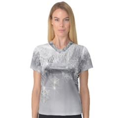 New Year Holiday Snowflakes Tree Branches Women s V Neck Sport Mesh Tee