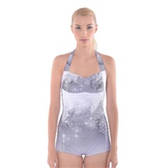 New Year Holiday Snowflakes Tree Branches Boyleg Halter Swimsuit