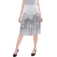 New Year Holiday Snowflakes Tree Branches Midi Beach Skirt