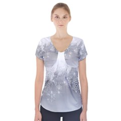 New Year Holiday Snowflakes Tree Branches Short Sleeve Front Detail Top