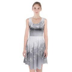 New Year Holiday Snowflakes Tree Branches Racerback Midi Dress