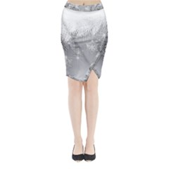 New Year Holiday Snowflakes Tree Branches Midi Wrap Pencil Skirt