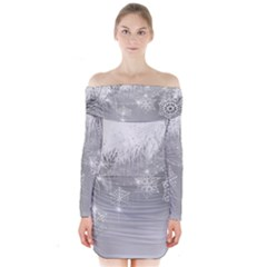 New Year Holiday Snowflakes Tree Branches Long Sleeve Off Shoulder Dress