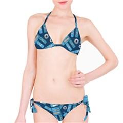 Seamless Pattern Robot Bikini Set