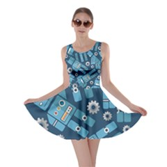 Seamless Pattern Robot Skater Dress