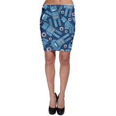 Seamless Pattern Robot Bodycon Skirt