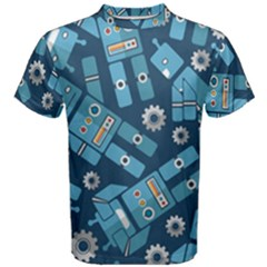 Seamless Pattern Robot Men s Cotton Tee