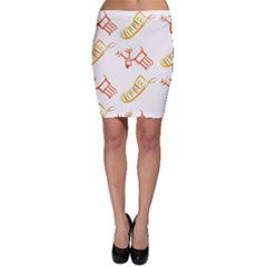 Stocking Reindeer Wood Pattern  Bodycon Skirt