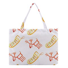 Stocking Reindeer Wood Pattern  Medium Tote Bag