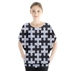 Puzzle1 Black Marble & Gray Marble Batwing Chiffon Blouse