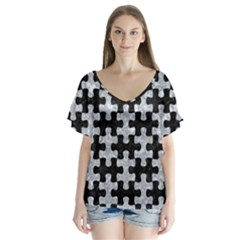 Puzzle1 Black Marble & Gray Marble V Neck Flutter Sleeve Top
