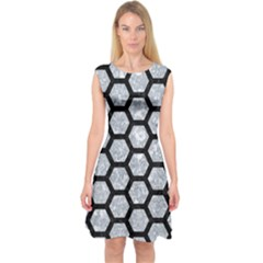 Hexagon2 Black Marble & Gray Marble (r) Capsleeve Midi Dress