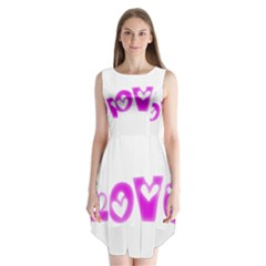 Pink Love Hearts Typography Sleeveless Chiffon Dress