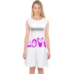 Pink Love Hearts Typography Capsleeve Midi Dress