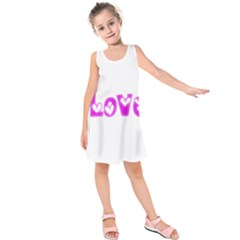 Pink Love Hearts Typography Kids  Sleeveless Dress