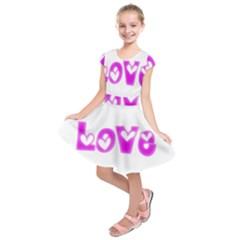 Pink Love Hearts Typography Kids  Short Sleeve Dress