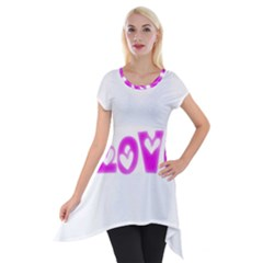 Pink Love Hearts Typography Short Sleeve Side Drop Tunic