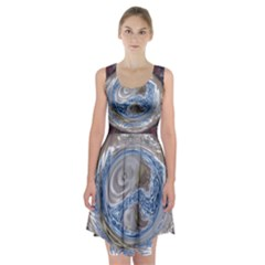 Silver Gray Blue Geometric Art Circle Racerback Midi Dress