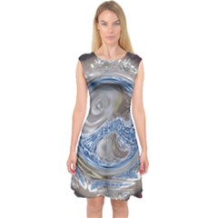 Silver Gray Blue Geometric Art Circle Capsleeve Midi Dress